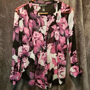 Long sleeve black and floral blouse